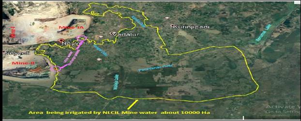 Area being irrigated by NLCIL Mine Water about 10000 Ha